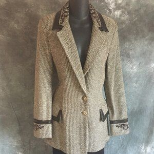 st john couture brown multi leather trim jacket 4